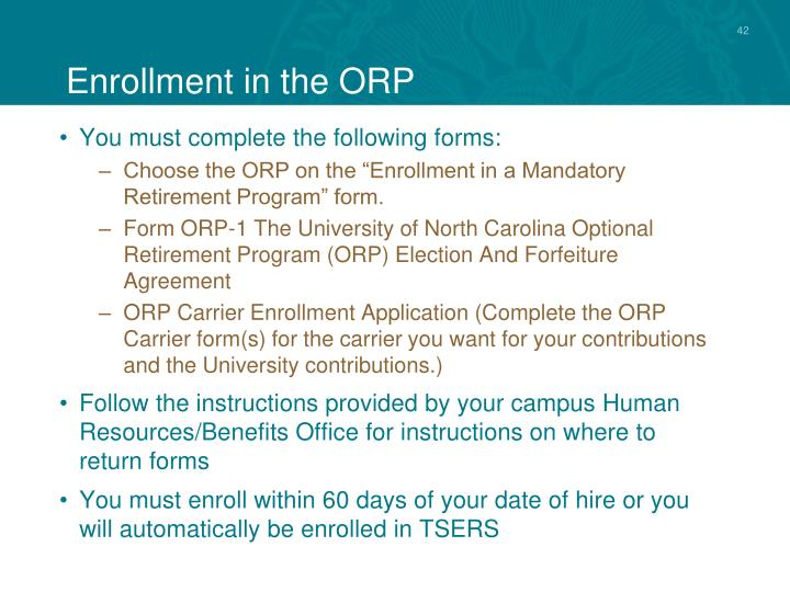 Enrollment in the ORP