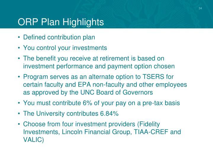 ORP Plan Highlights
