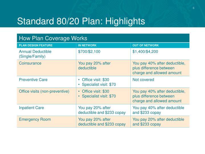 Standard 80/20 Plan: Highlights