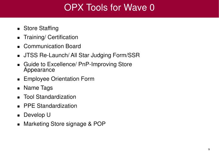 OPX Tools for Wave 0