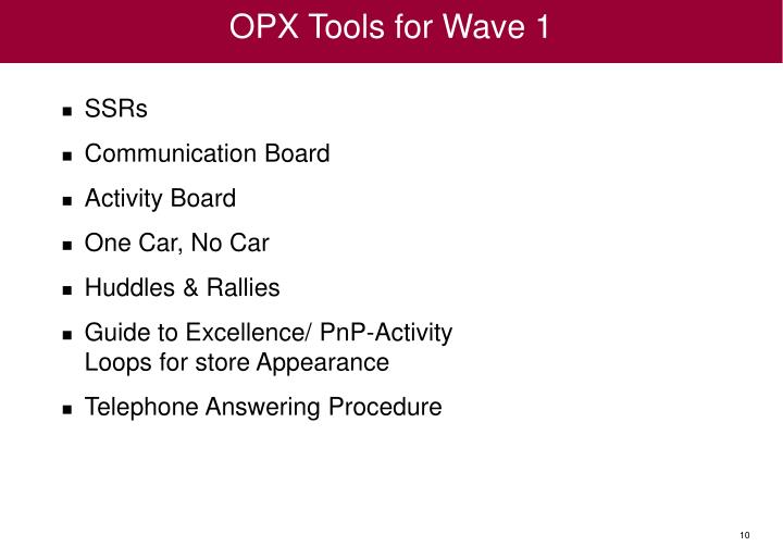 OPX Tools for Wave 1