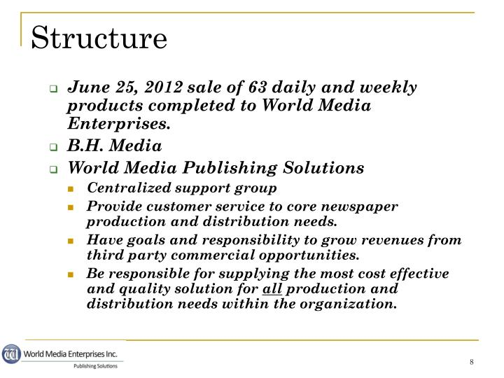 June 25, 2012 sale of 63 daily and weekly products completed to World Media Enterprises.