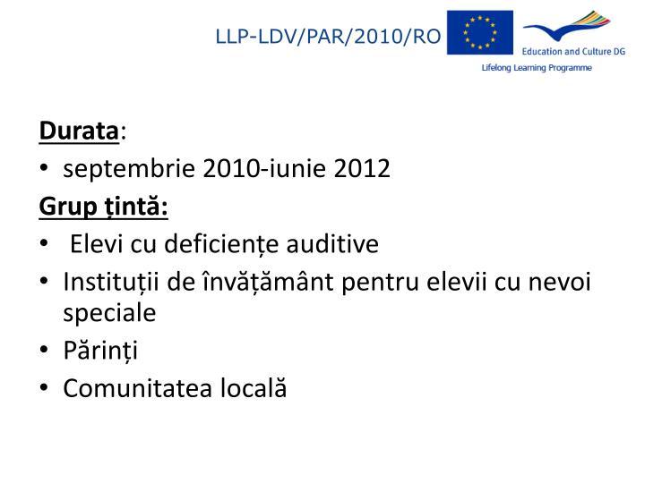 LLP-LDV/PAR/2010/RO/005