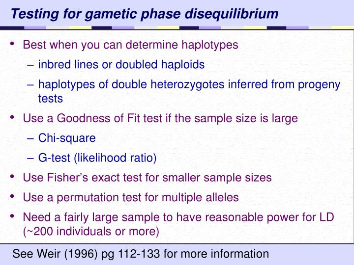 Testing for gametic phase disequilibrium