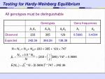 testing for hardy weinberg equilibrium