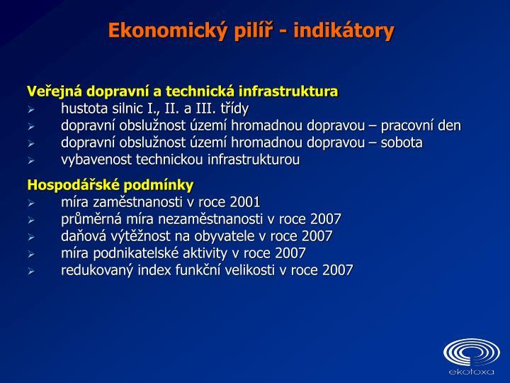 Ekonomický pilíř - indikátory