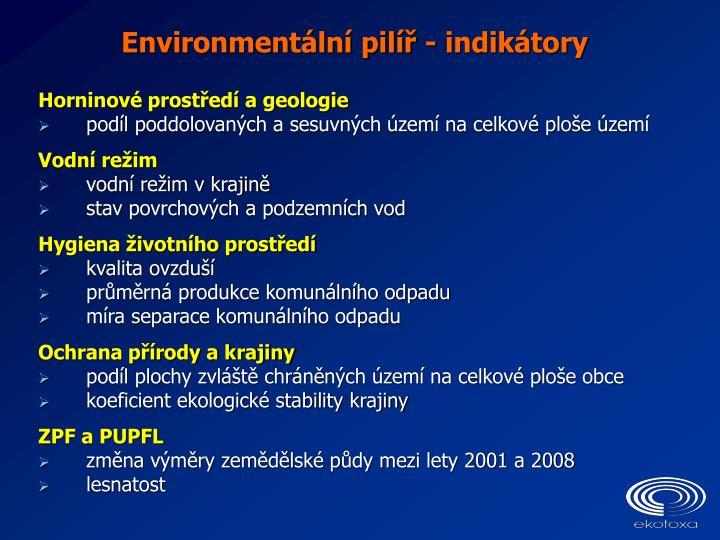 Environmentální pilíř - indikátory