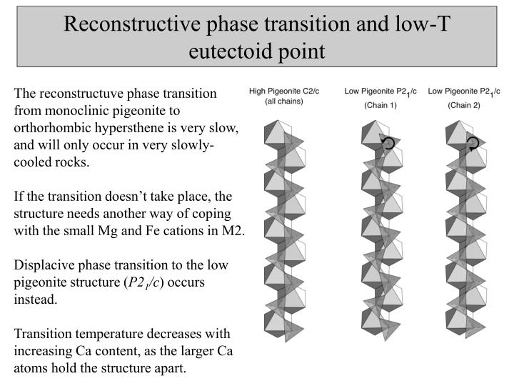 Reconstructive phase transition and low-T eutectoid point