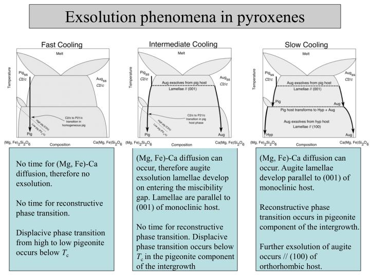 Exsolution phenomena in pyroxenes