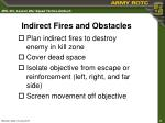 indirect fires and obstacles