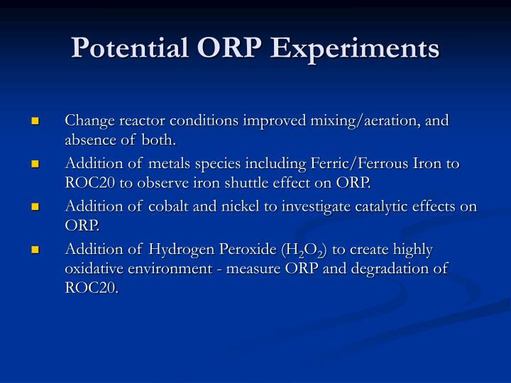 Potential ORP Experiments