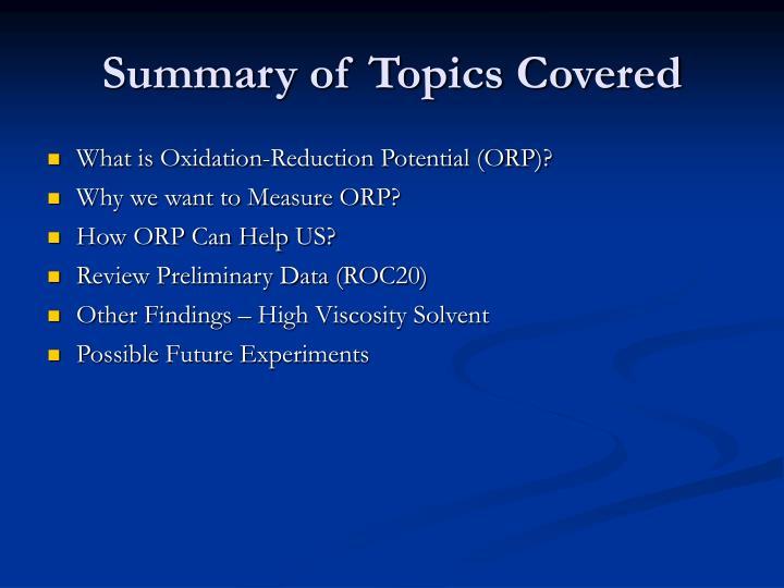 Summary of Topics Covered