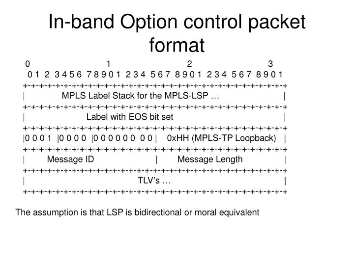In-band Option control packet format
