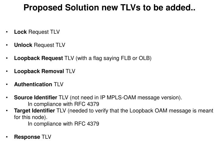 Proposed Solution new TLVs to be added..