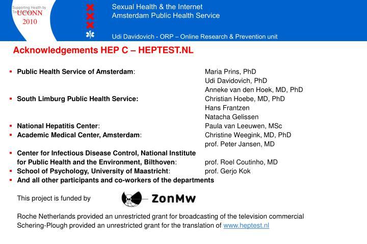 Acknowledgements HEP C – HEPTEST.NL