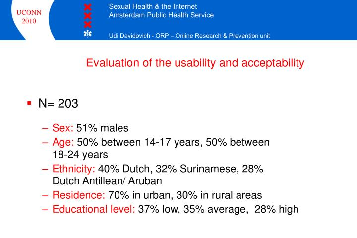 Evaluation of the usability and acceptability