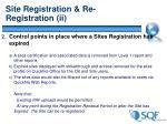 site registration re registration ii