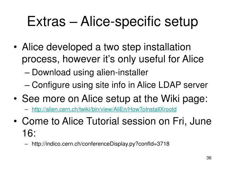 Extras – Alice-specific setup