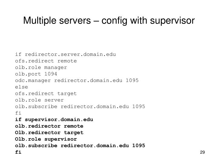 Multiple servers – config with supervisor