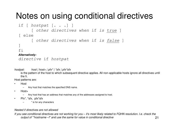 Notes on using conditional directives