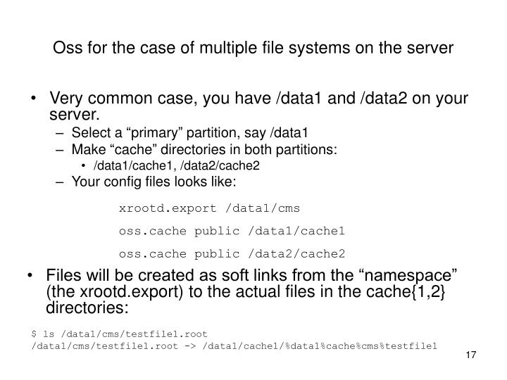 Oss for the case of multiple file systems on the server