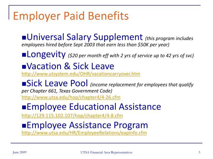 Employer Paid Benefits