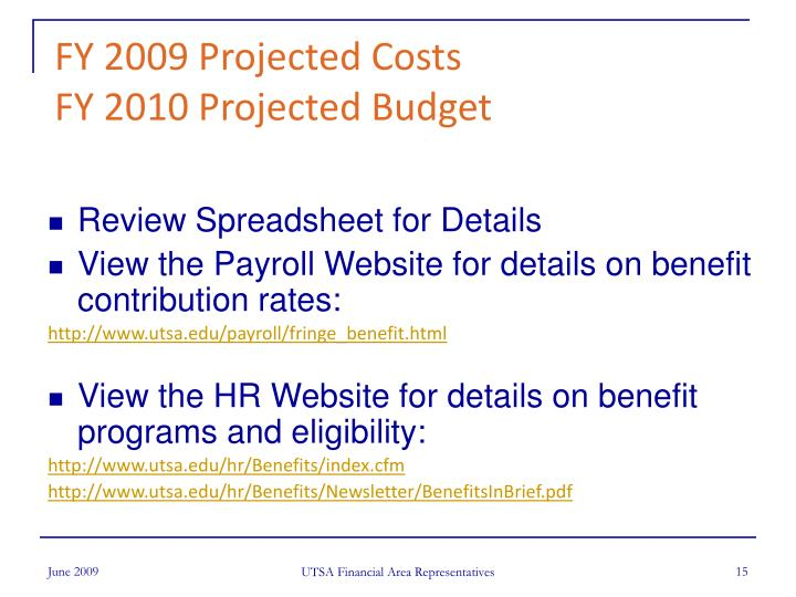FY 2009 Projected Costs