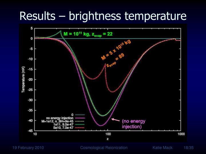 Results – brightness temperature