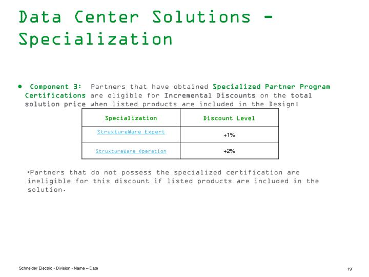 Data Center Solutions - Specialization