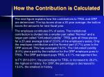 how the contribution is calculated