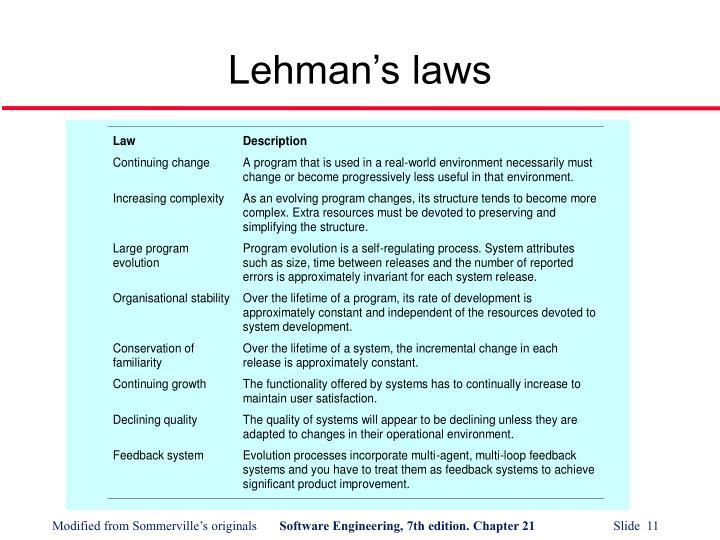 Lehman's laws