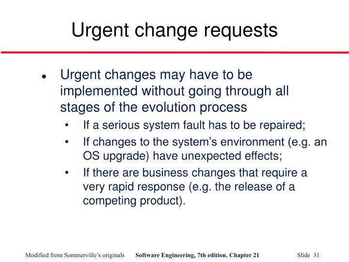 Urgent change requests