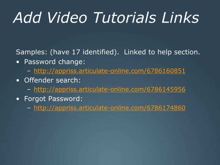 Add Video Tutorials Links