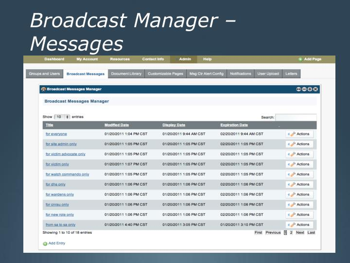 Broadcast Manager – Messages