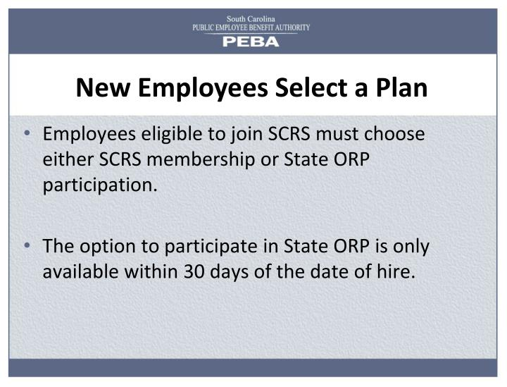 New Employees Select a Plan