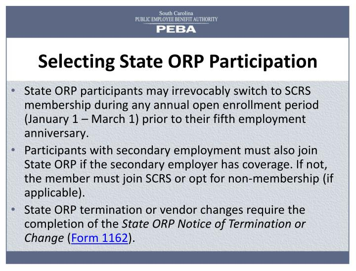 Selecting State ORP Participation