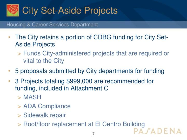 City Set-Aside Projects