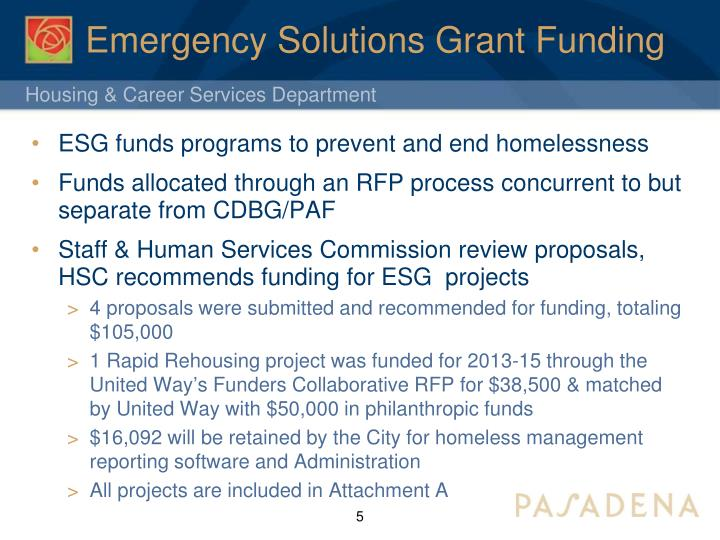 Emergency Solutions Grant Funding