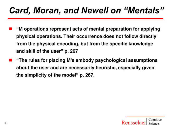 """Card, Moran, and Newell on """"Mentals"""""""