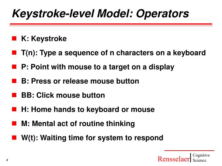 Keystroke-level Model: Operators
