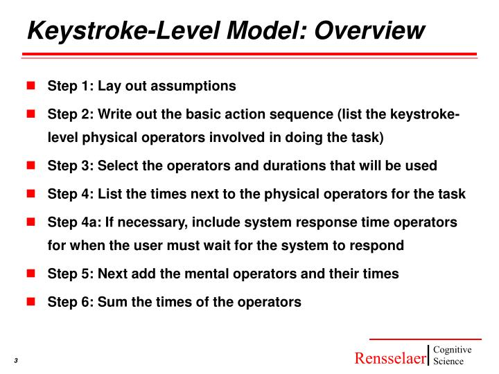 Keystroke-Level Model: Overview