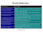 event selectors