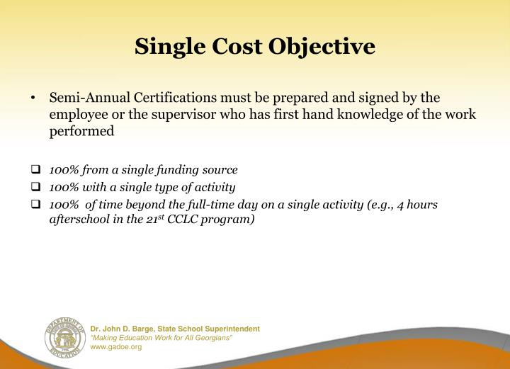 Single Cost Objective