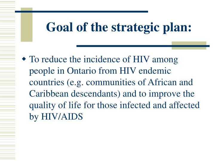 Goal of the strategic plan: