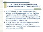 hiv aids in african and caribbean communities in ontario history of hetf 2