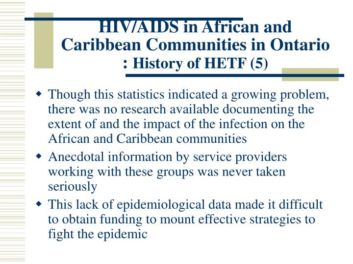 HIV/AIDS in African and Caribbean Communities in Ontario :