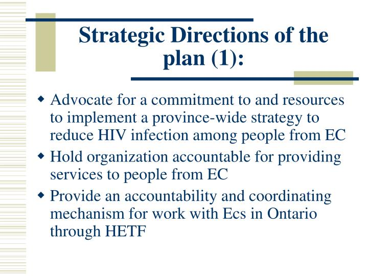 Strategic Directions of the plan (1):