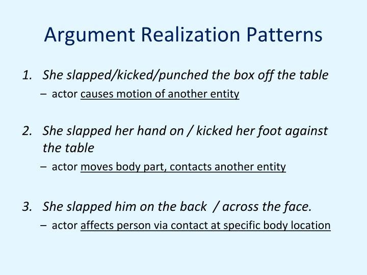 Argument Realization Patterns