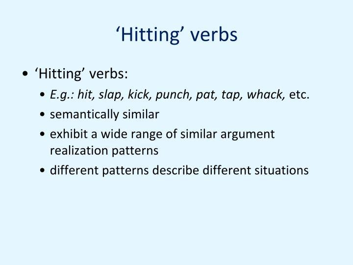 'Hitting' verbs