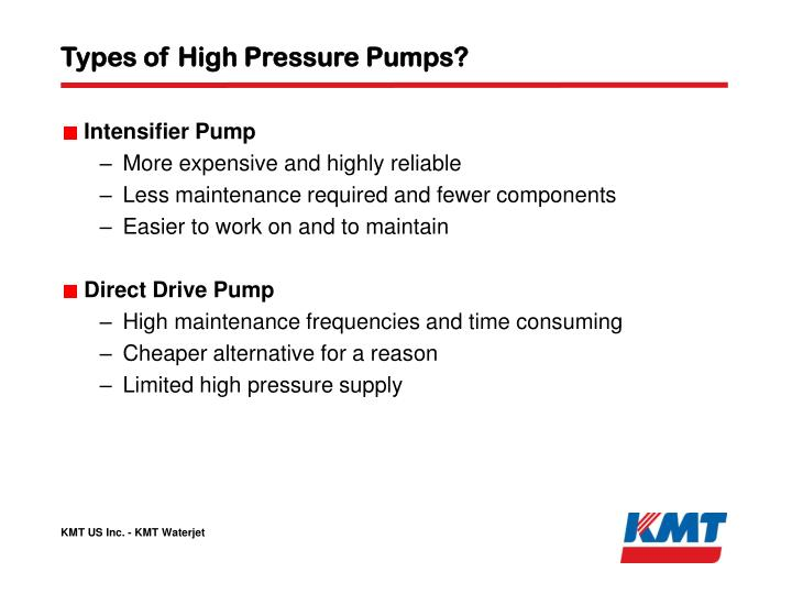 Types of High Pressure Pumps?
